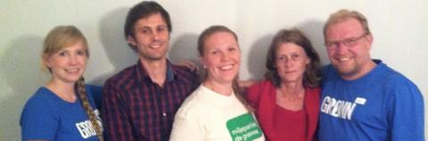 Fra venstre: Marthe Arnesen (leder og medlemsansvarlig), Jon-Finngard Moe (kasserer og sekretær), Silje Gram Henriksen (nestleder og lokalpolitisk ansvarlig), Karina Pettersen (vara) og Thorbjørn Olving (styremedlem).